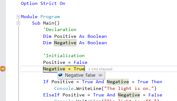 Debug Negative Value