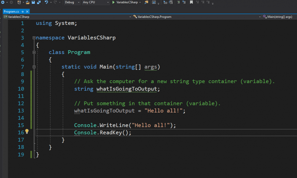 C# variable declaration and initialization.