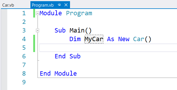 Visual Basic Car declaration and initialization