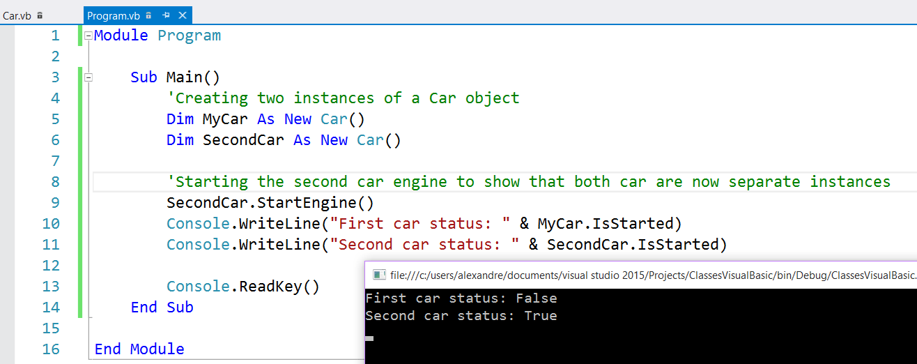 Visual Basic Car instances