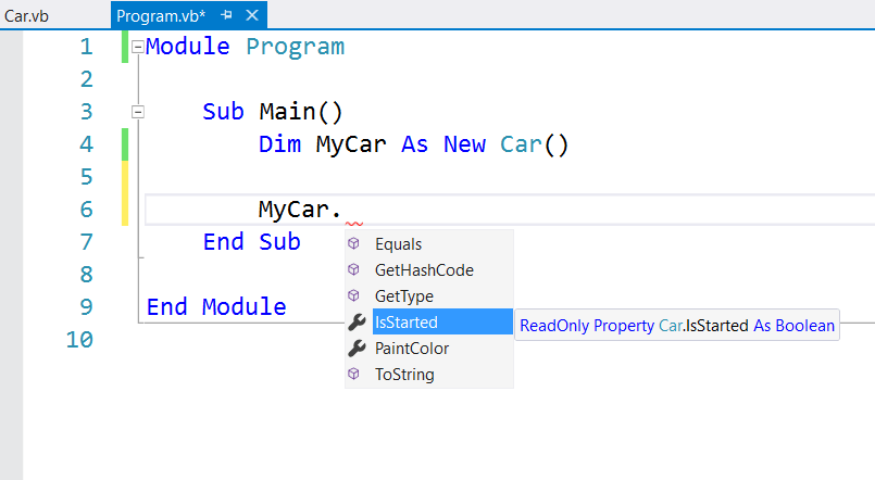 Visual Basic Car intellisense