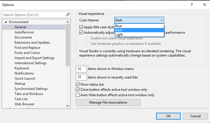 Visual Studio Color Theme Drop Down List