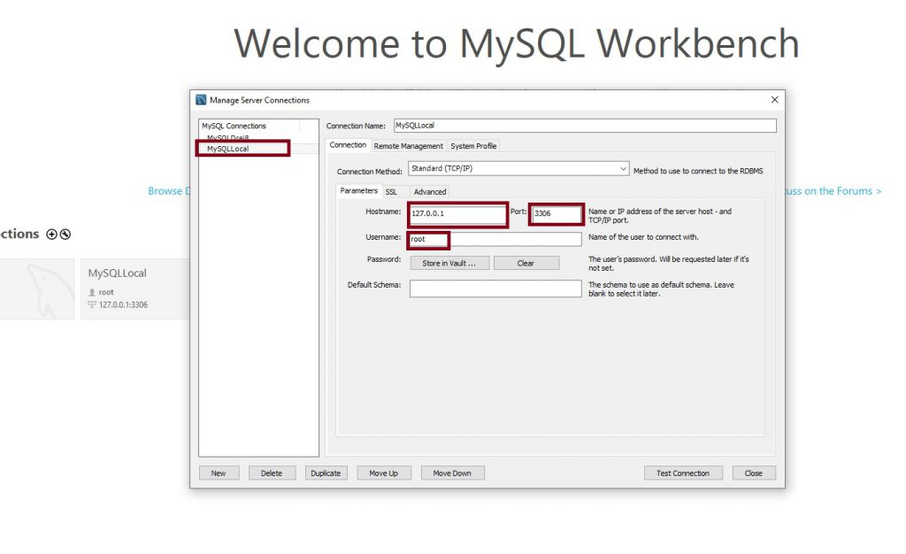 Add new connection to MySQL server.