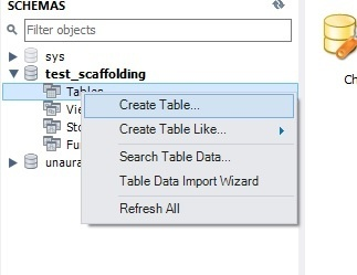 Create table in schema